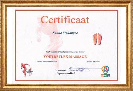 Certificaat Voetreflex Massage